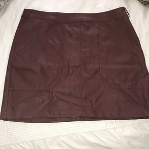 EXPRESS Maroon Leather Skirt